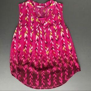 41 Hawthorn Pink 100% Silk Top, Medium Blouse